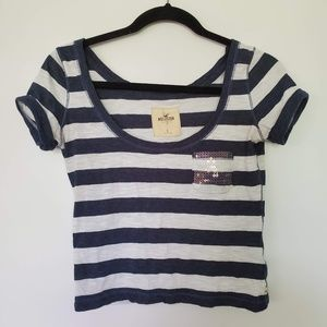 2/$20 Hollister blue white striped sequins top